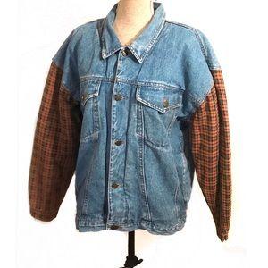 Vintage oversized denim jean jacket plaid sleeve